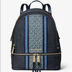 Micheal Kors Rhea Medium Denim Logo Backpack